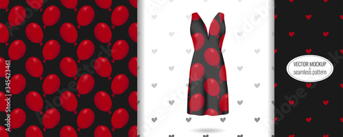 Seamless pattern on evening black dress mockup with red air balloon print Fototapet