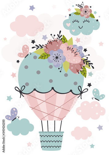 Fotografia poster with Hot Air Balloon and flowers  -  vector illustration, eps