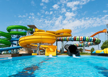 Water Park With Colorful Slide...