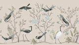 Vintage garden tree, birds, crane floral seamless border beige background. Exotic chinoiserie wallpaper. - 345429698