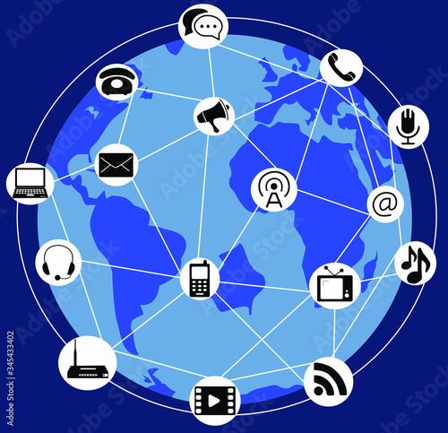 Fotografia Día internacional de las telecomunicaciones, globo terráqueo rodeado de iconos d