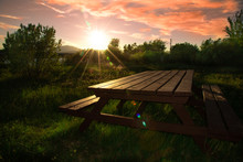 Isolated Picnic Table At A Cam...
