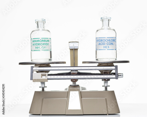 Photo A bottle of hydrochloric acid and a bottle of ammonium hydroxide sitting on a beam balance