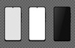 Realistic smartphone white, black and blank screen isolated on a transparent background. Vector EPS 10