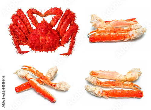 Alaskan king crab isolated in white background, Red king crab or Taraba crab  is Canvas Print