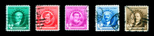 Famous American Artists Stamp Series 1940, Seven Categories - Authors, Poets, Educators, Scientists, Composers, Artists, And Inventors. US Commemorative Postage Stamps