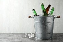 Metal Bucket With Beer And Ice...