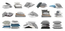 Set Of Different Pillows On White Background. Banner Design