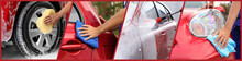 Collage Of People Cleaning Automobiles At Car Wash, Closeup. Banner Design