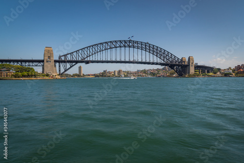 In front of Sydney Harbour Bridge on a sunny day at circular quay in Sydney, Australia