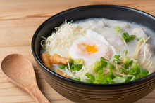 Minced Pork With Boiled Eggs And Topped With Ginger And Spring Onions. Popular For Breakfast And Dinner.,rich Soup Asia Food