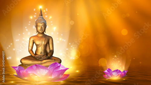 Slika na platnu Buddha statue water lotus Buddha standing on lotus flower on orange background