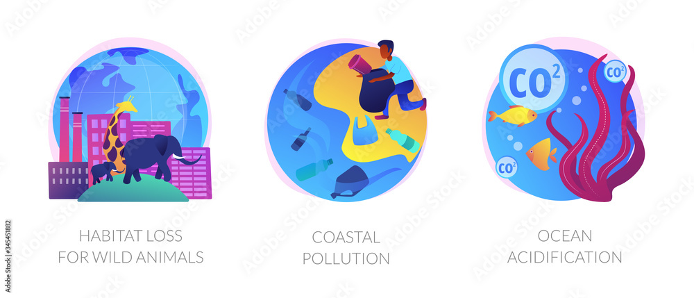 Fototapeta Biodiversity reducing, urbanization problem. Biological impact. Habitat loss for wild animals, coastal pollution, ocean acidification metaphors. Vector isolated concept metaphor illustrations