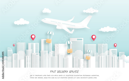 Fast delivery package by airplane. Wallpaper Mural