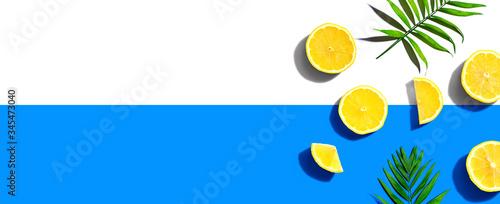 Obraz Fresh yellow lemons overhead view - flat lay - fototapety do salonu