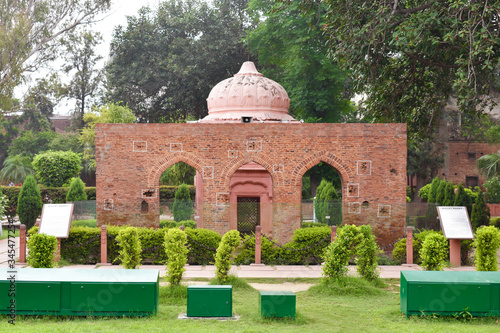 selective focused view of monuments in Jallianwala bagh in Amritsar, India Canvas Print