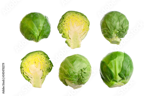 Fototapeta Set of brussels sprouts isolated. Small cabbage, green vegetable. Top view, macro obraz
