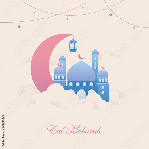 creative abstract, banner or poster for Eid Mubarak with nice and creative design illustration Wallpaper Mural