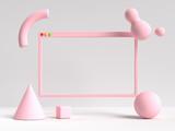 3d rendering biały różowy scena pusta ramka interfejs użytkownika abstrakcyjny kształt geometryczny