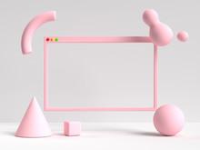 3d Rendering White Pink Scene ...