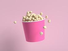 Abstract Cartoon Style Popcorn Bucket 3d Rendering