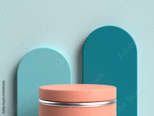 Fototapeta blue wall curve orange circle stage 3d rendering obraz