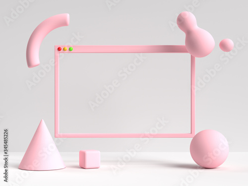 Fototapeta 3d rendering white pink scene blank frame user interface abstract geometric shape obraz