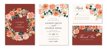 Wedding Invitation Set With Rustic Peach Floral Watercolor