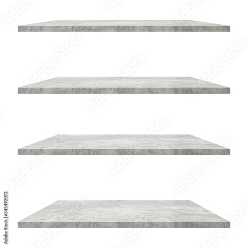 Fotografie, Obraz 4 concrete shelves table isolated on white background and display montage for product