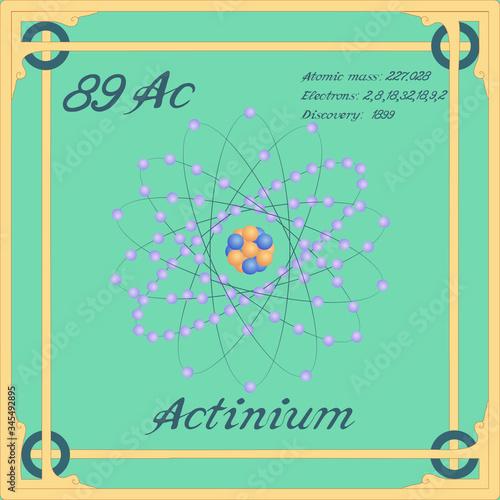 Photo Periodic table element. Actinium colorful icon. Vector.