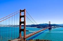 Golden Gate Bridge Over Bay Against Clear Blue Sky