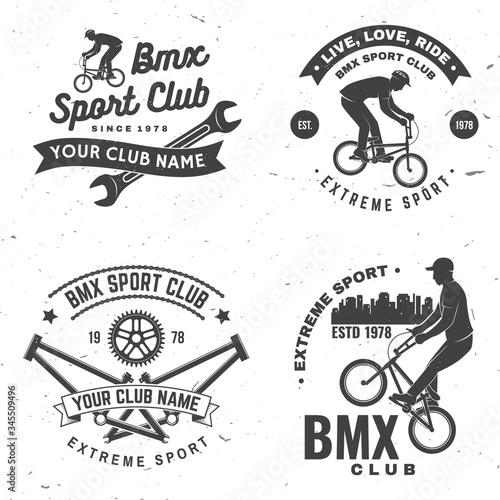 Photo Set of bmx extreme sport club badge