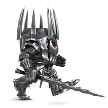 3D Model Of A Cartoon Knight. Stylized Image Of A Coronavirus.