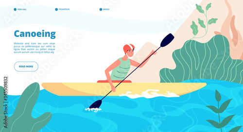 Valokuvatapetti Canoeing and kayaking