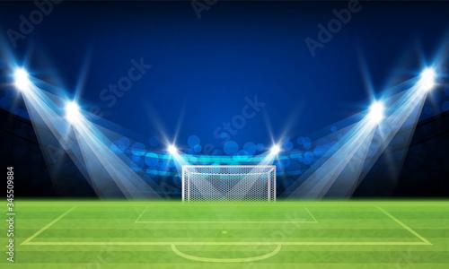 Photo Football arena field with bright stadium lights vector design Vector illuminatio