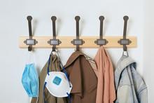 Masks Are On The Coat Hanger