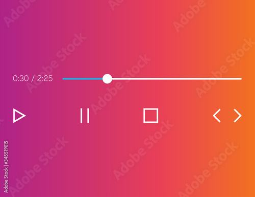 Photo Audio player mockup in gradient background and flat icons