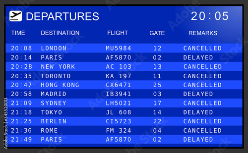 Fotomural Blue flight information display system in international airport, cancelled and d