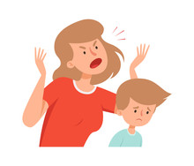 Domestic Violence. Angry Mother, Sad Boy. Bullying And Abusing Behavior. Woman Scream On Son Vector Illustration. Son And Mother Conflict, Kid Crying And Exhausted