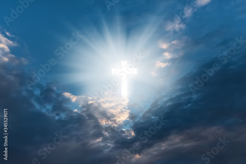 Photo Religious background with Holy Cross glowing