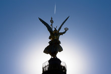 Low Angle View Of Victory Column Against Clear Sky On Sunny Day