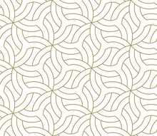 Seamless Floral Pattern With Abstract Geometric Flower Line Texture, Gold On White Background. Light Modern Simple Wallpaper, Bright Tile Backdrop, Decorative Graphic Element