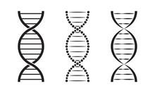 DNA Icon Set. Genetic Helix Lo...