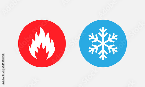 Photo Symbol of warmth and cold. Heat and cold sign. Vector EPS 10