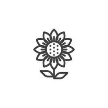 Sunflower Line Icon. Linear St...