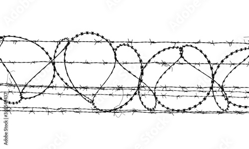 Photo Black and white barbed wire isolated  on white background