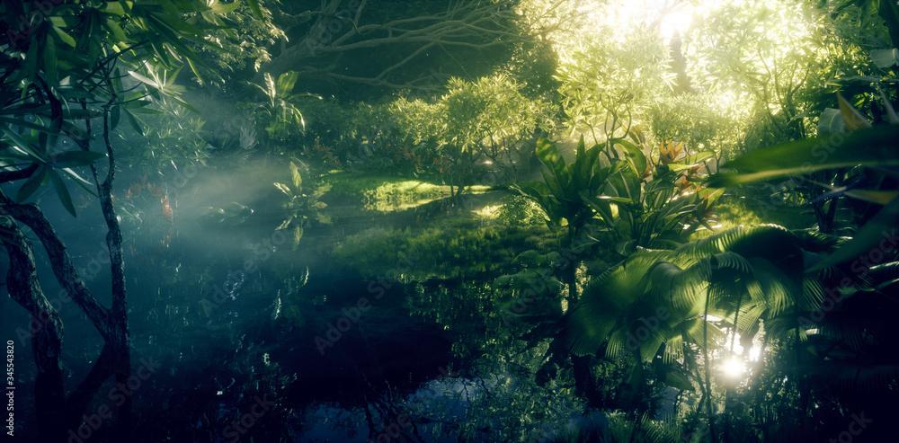 Fototapeta Jungle paradise concept. Deep and dense rainforest vegetation with pond and beautiful sunlight. 3d rendering.