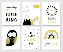 Cute Hand Drawn Nursery Poster Set With Hand Lettering In Scandinavian Style. Kids Vector Illustration For Print, Baby Shower Invitation, Greeting Cards. Explorer, Good Vibes, Rainbow, Mountain, Owl.