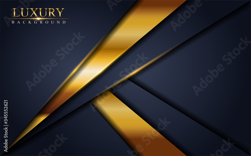 Leinwand Poster Abstract luxury navy background design with golden lines.