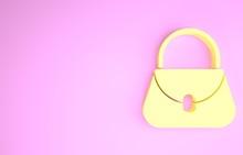 Yellow Handbag Icon Isolated On Pink Background. Female Handbag Sign. Glamour Casual Baggage Symbol. Minimalism Concept. 3d Illustration 3D Render